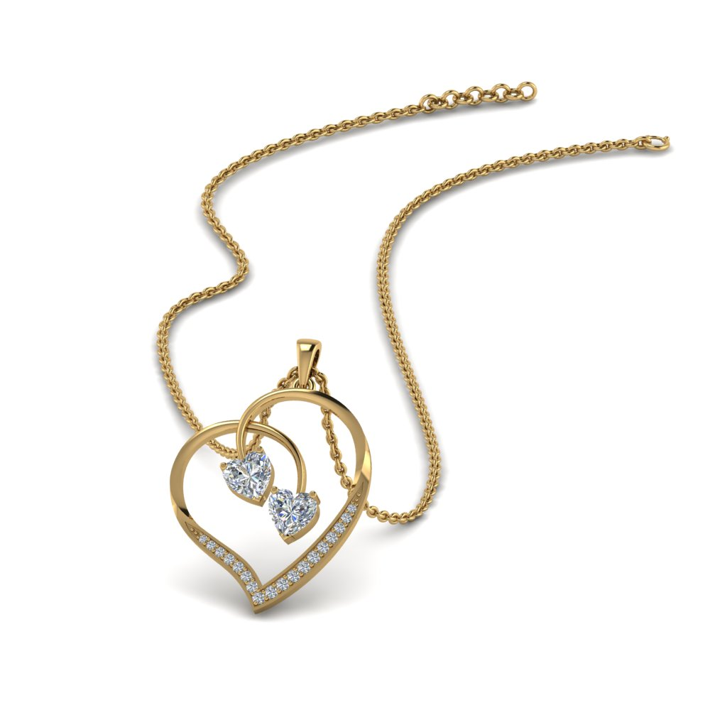 Dual Diamond Heart Pendant