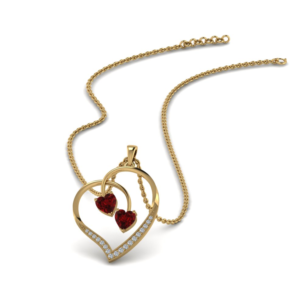 dual ruby heart diamond pendant in FDPD8875GRUDR NL YG