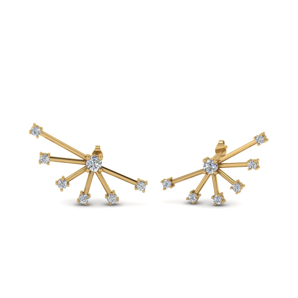 ear cuff diamond stud earring in 14K yellow gold FDEAR8431 NL YG