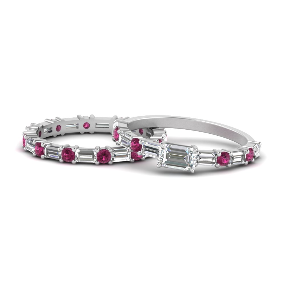 east-west-emerald-cut-diamond-wedding-ring-set-with-pink-sapphire-in-FD9234WRGSADRPI-NL-WG