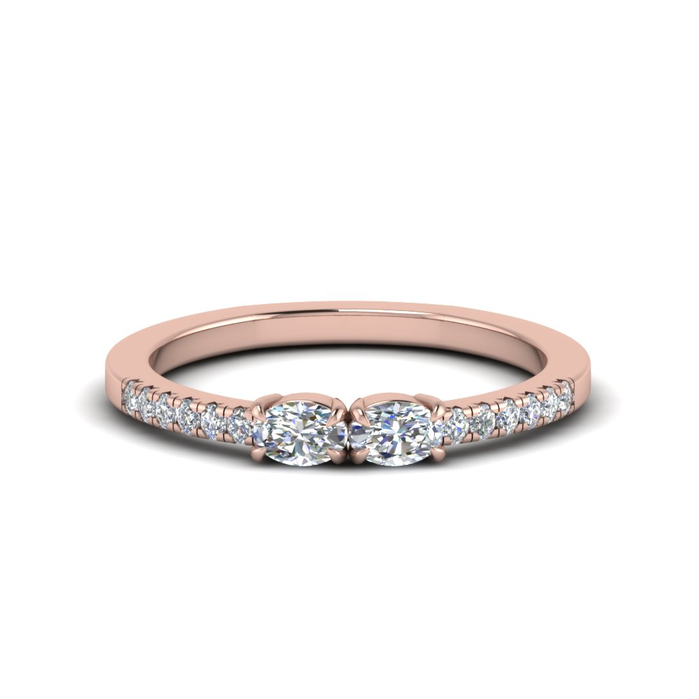 east west two stone oval shaped diamond ring in 14K rose gold FD122196OVR NL RG