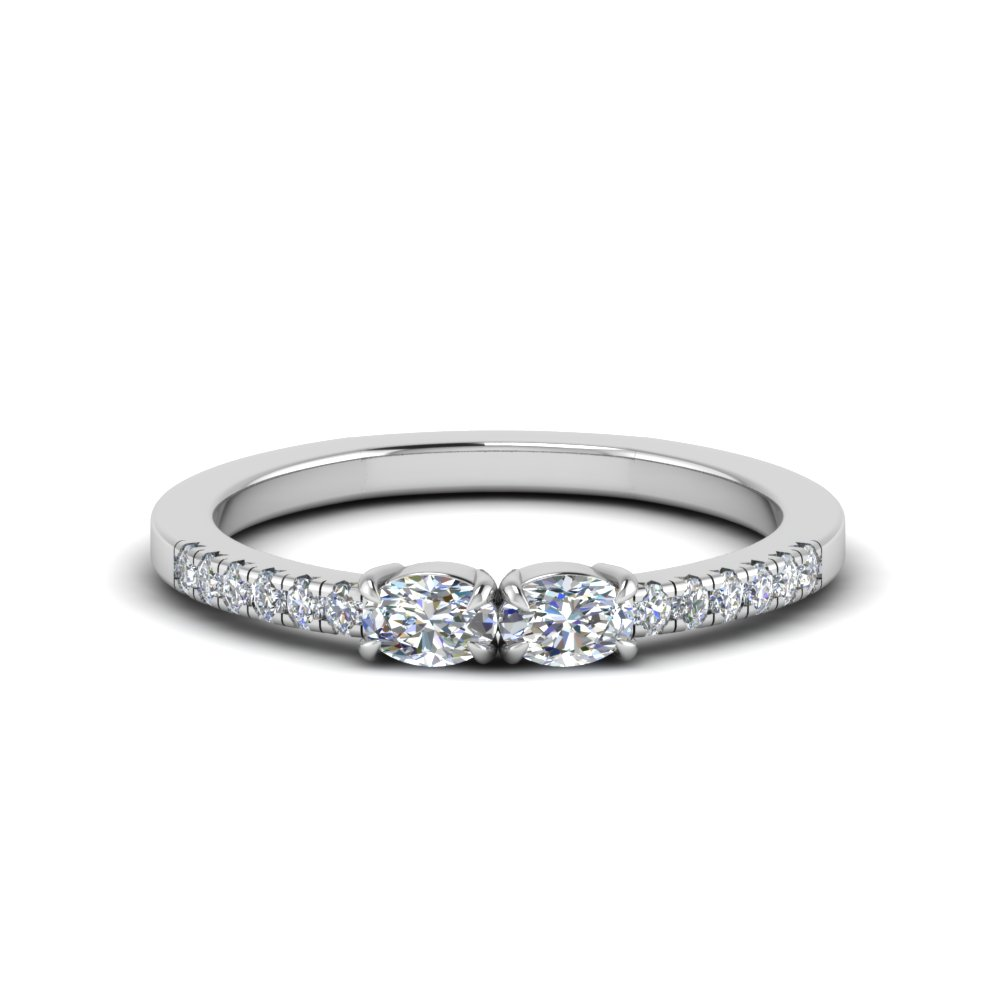 East West 2 Stone Oval Cut Ring