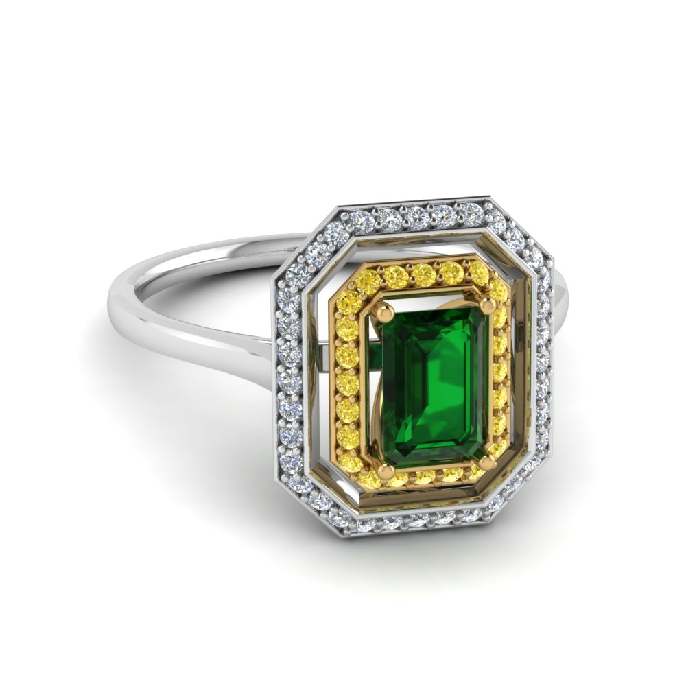 emerald and halo engagement ring in 14k