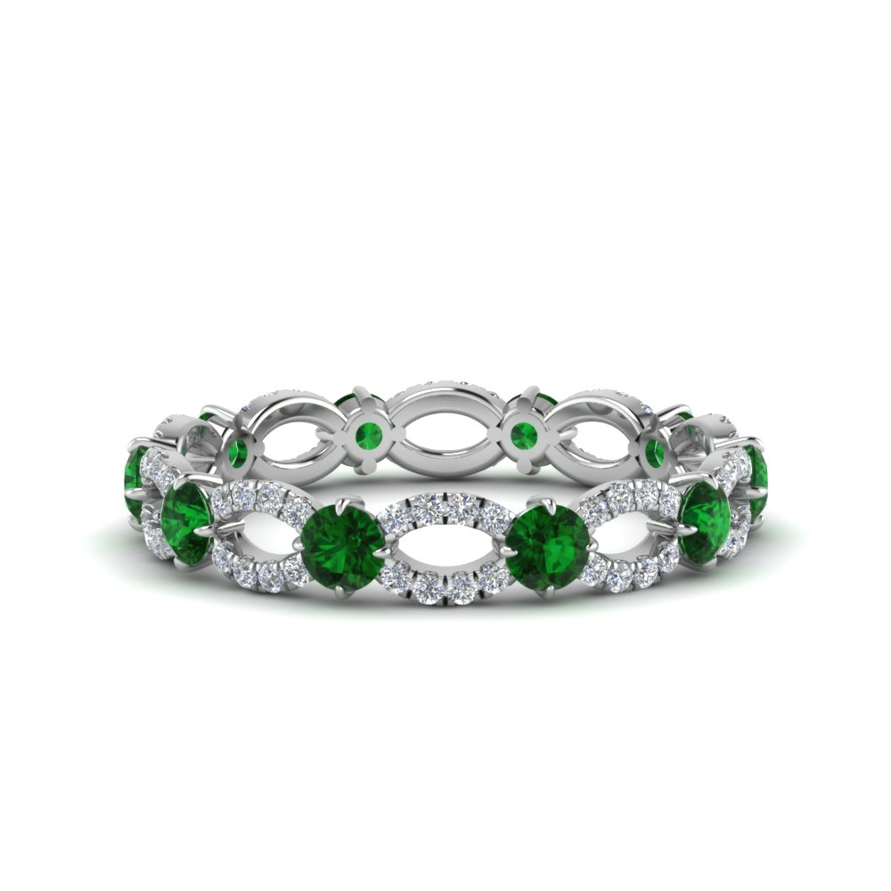 Emerald And Diamond Eternity Ring In 14K White Gold