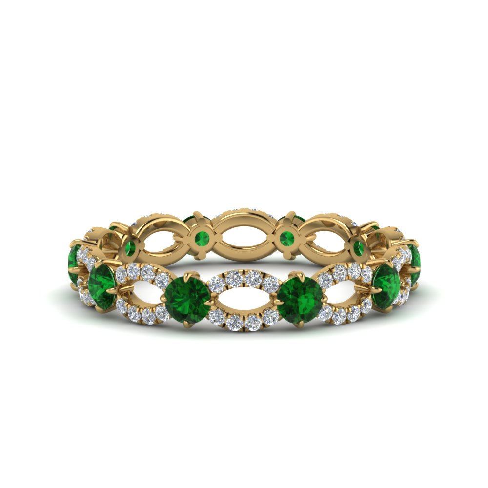 Emerald And Diamond Eternity Ring In 14K Yellow Gold