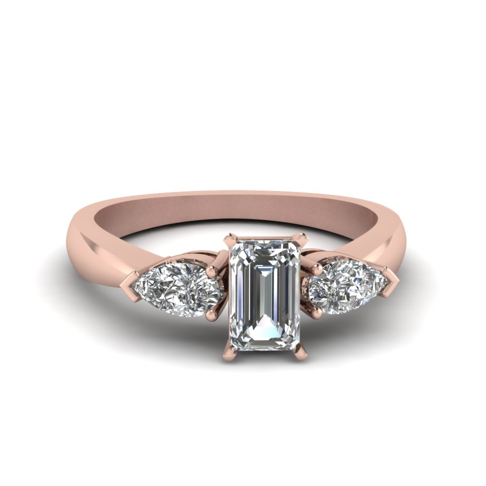 emerald and pear diamond 3 stone engagement ring in 14K rose gold FDENR1603EMR NL RG