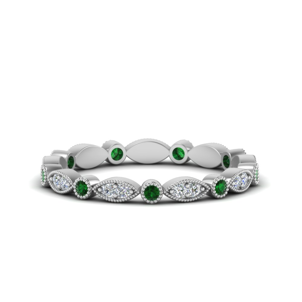 0.35 ct. emerald art deco diamond eternity band in FD8641BGEMGR NL WG