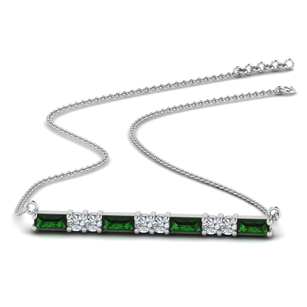 Baguette Emerald Bar Necklace
