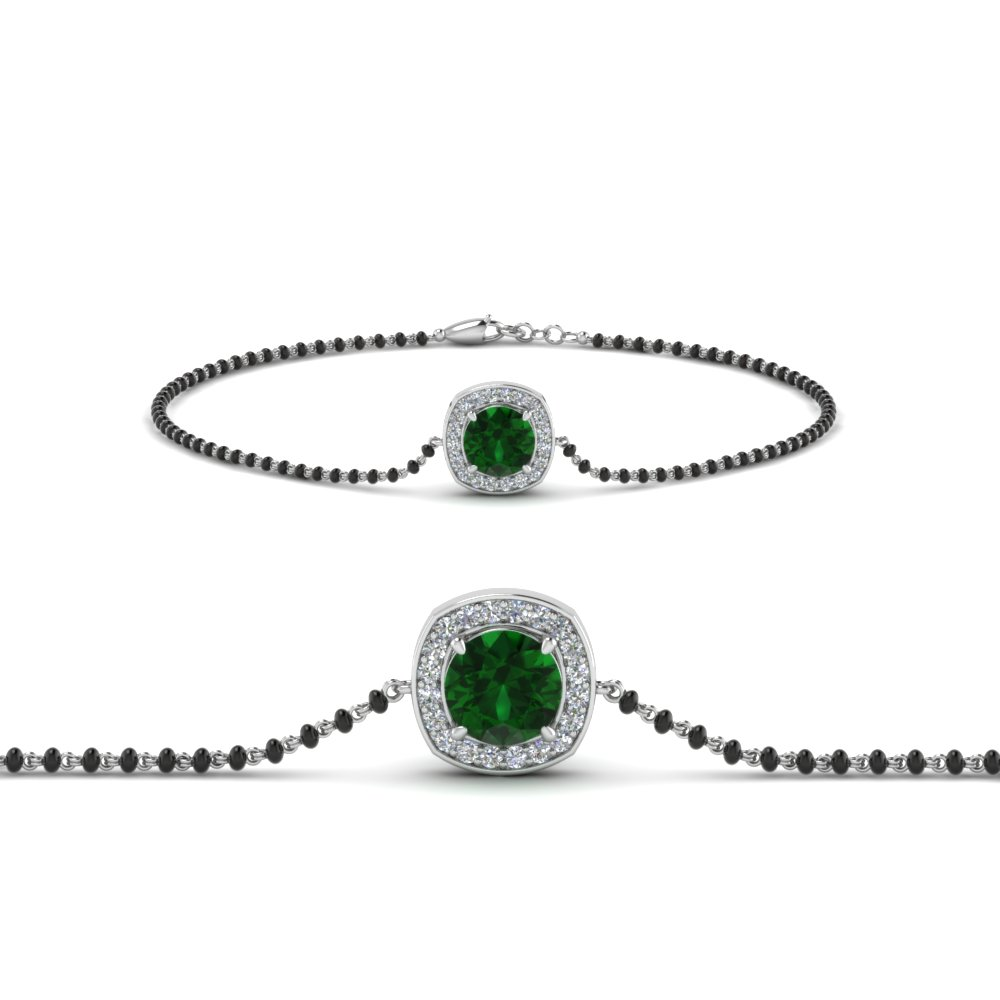 Single Chain Emerald Bracelet Mangalsutra