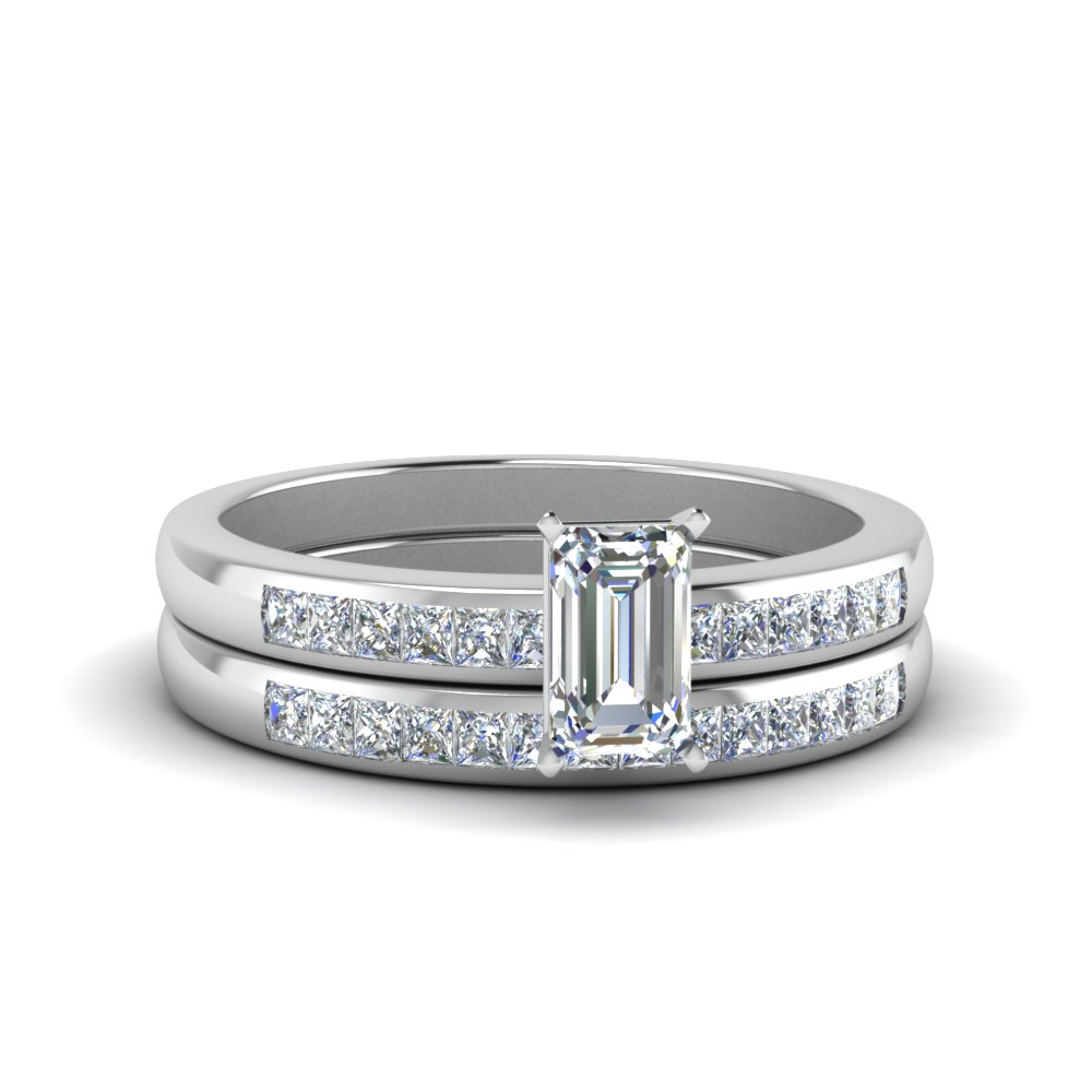 Channel Emerald Cut Wedding Set