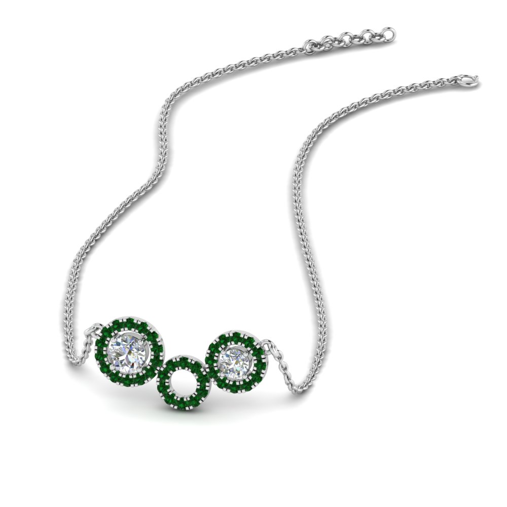 emerald circle diamond pendant necklace in FDPD8935GEMGR NL WG