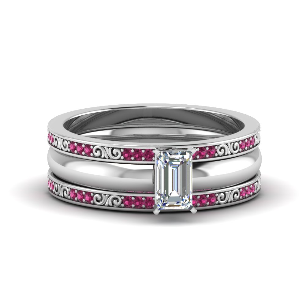 emerald cut 3 piece diamond filigree bridal set with pink sapphire in 950 Platinum FD8352TEMGSADRPI NL WG