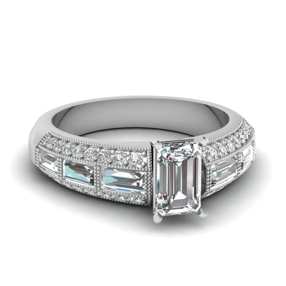 Milgrain Emerald Cut Engagement Rings With Baguettes In White Gold