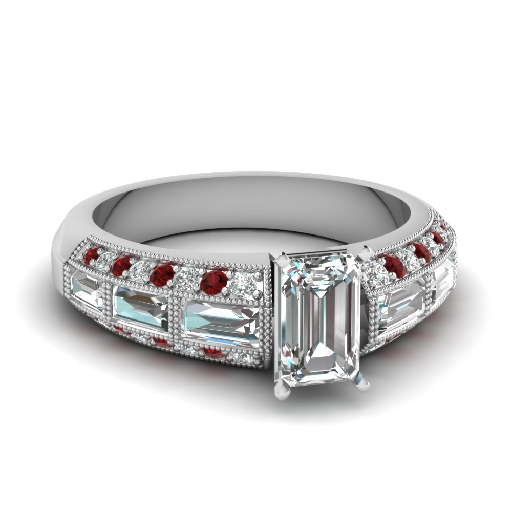 emerald cut 3 row baguette and round diamond vintage wedding ring with ruby in FD62254EMRGRUDR NL WG