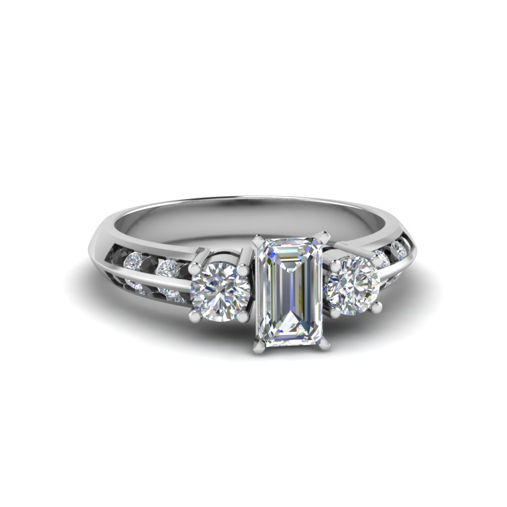 emerald cut 3 stone channel accent engagement ring with black diamond in FD8313EMRGBLACK NL WG