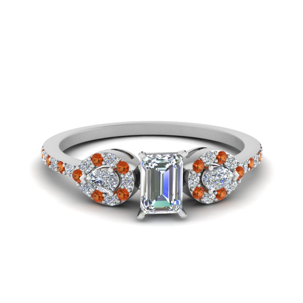Emerald 3 Stone Diamond Halo Engagement Ring With Orange Sapphire In 18K White Gold