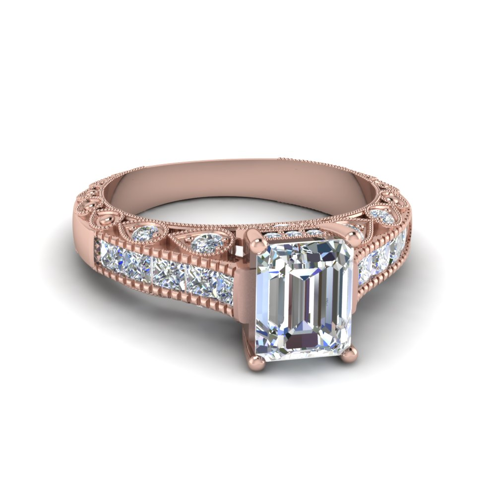 emerald cut antique channel set diamond shank engagement ring in 14K rose gold FDENR6839EMR NL RG