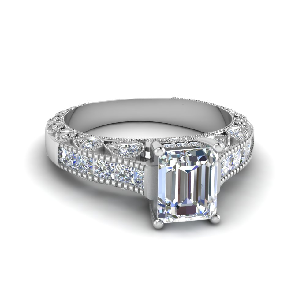 emerald cut antique channel set diamond shank engagement ring in 14K white gold FDENR6839EMR NL WG