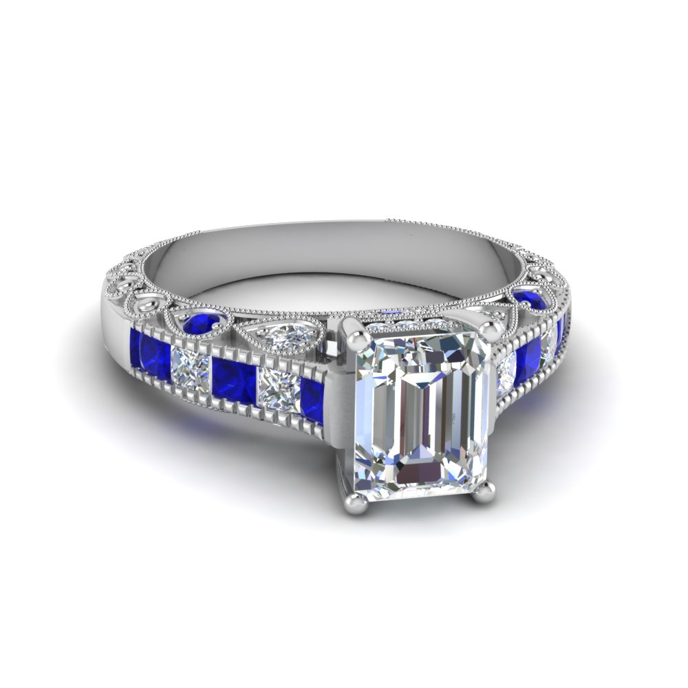 emerald cut antique channel set diamond shank engagement ring with blue sapphire in 14K white gold FDENR6839EMRGSABL NL WG