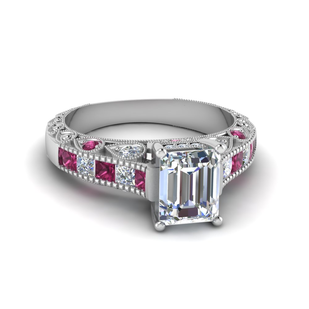 emerald cut antique channel set diamond shank engagement ring with pink sapphire in 14k white gold - Vintage Wedding Rings Sets