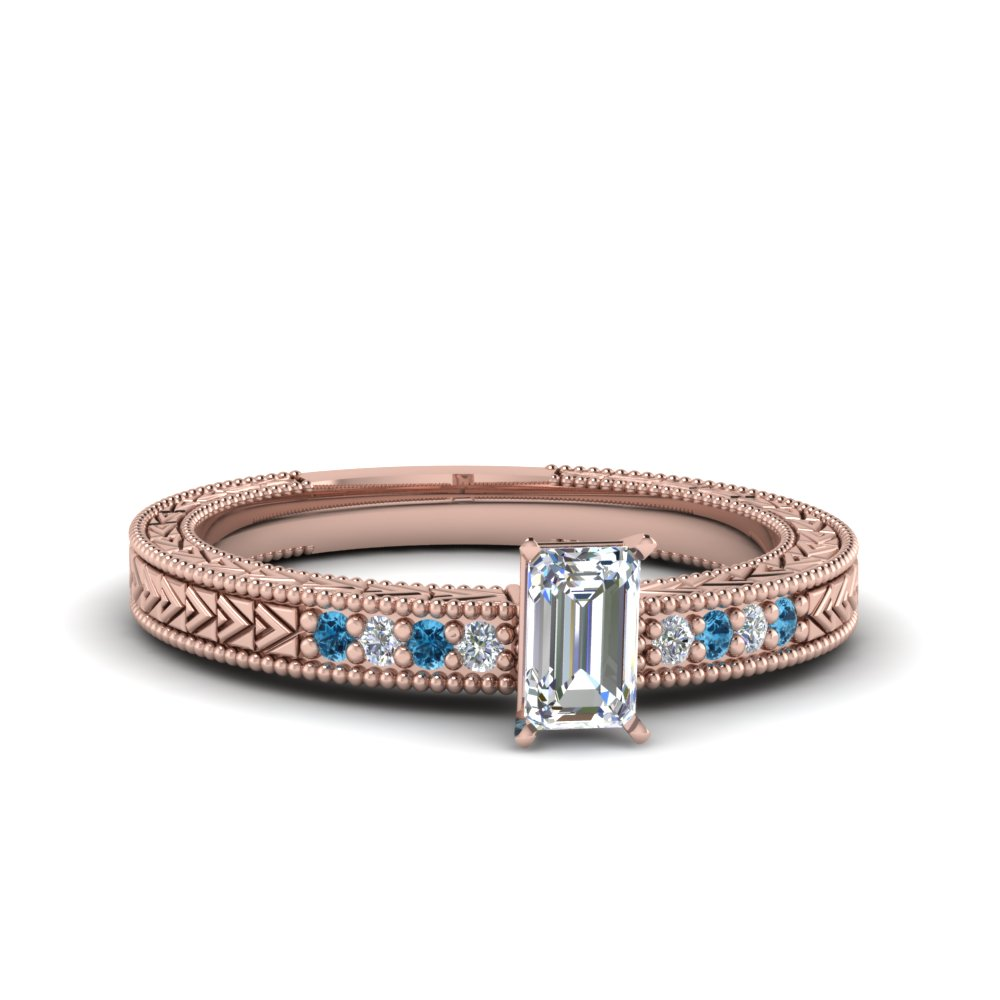 emerald cut antique design pave diamond engagement ring with ice blue topaz in FDENS3033EMRGICBLTO NL RG