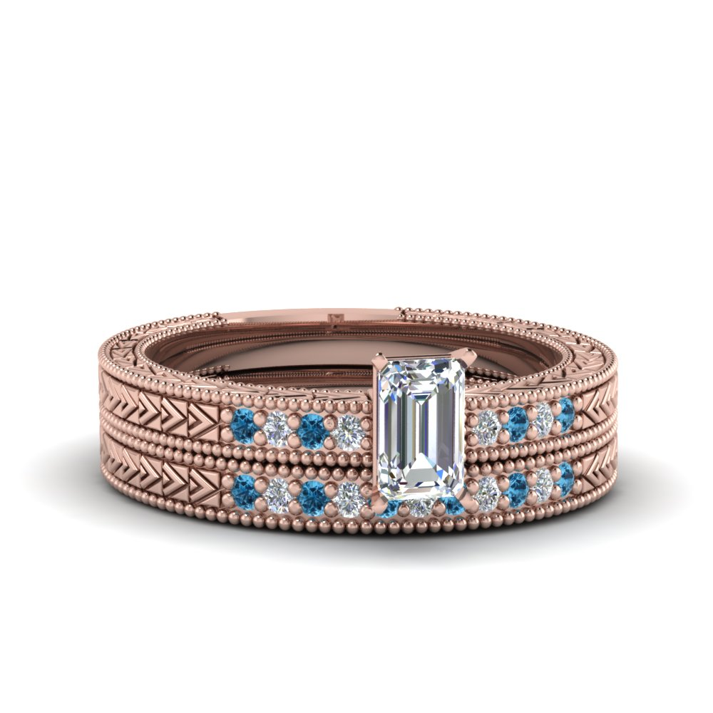emerald cut antique design pave diamond wedding ring set with ice blue topaz in FDENS3033EMGICBLTO NL RG