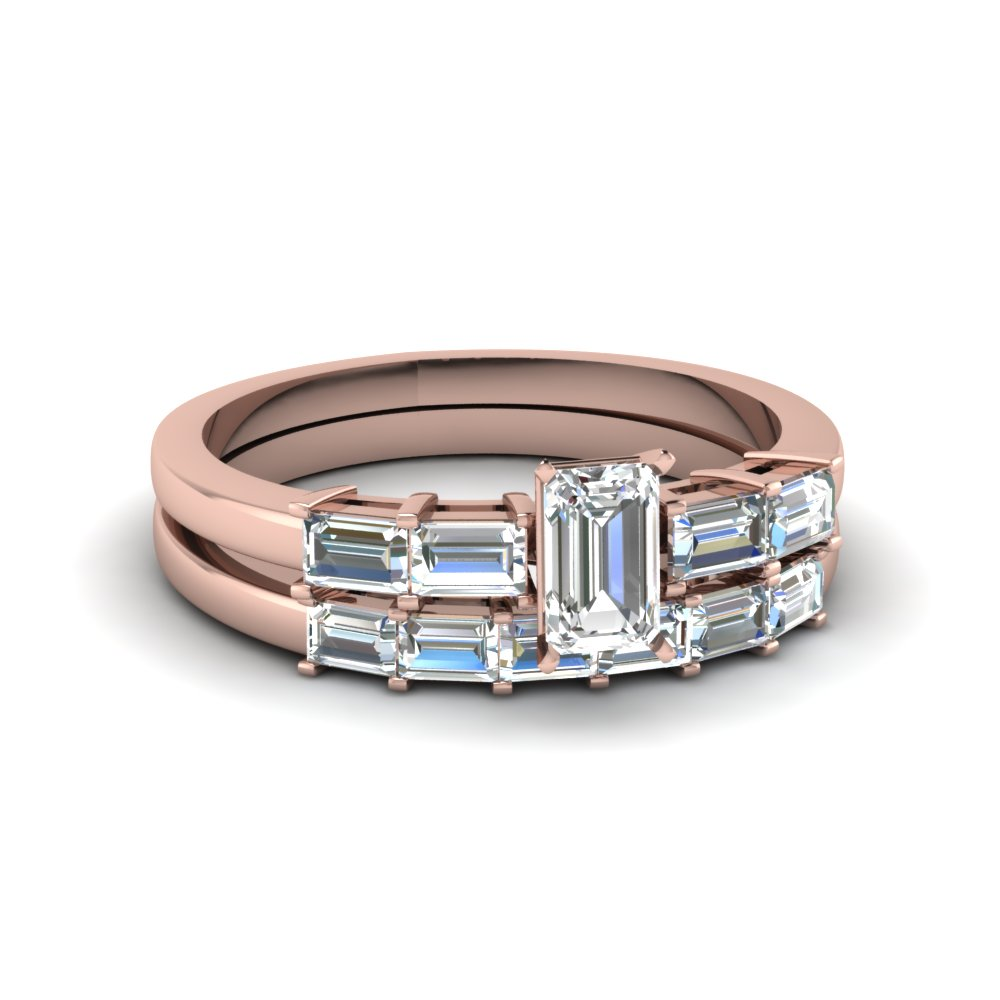 Channel Baguette Wedding Ring Set