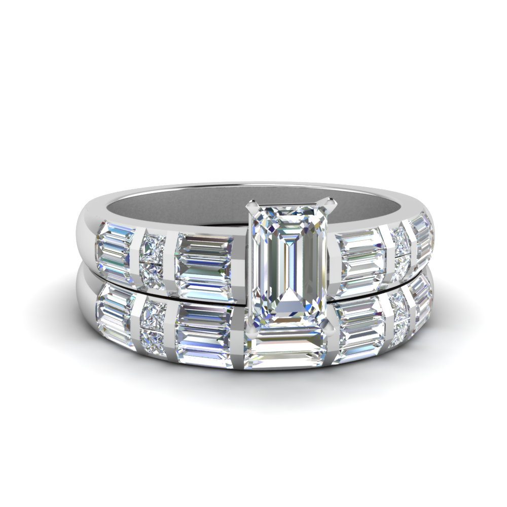 Bar Baguette Diamond Wedding Set