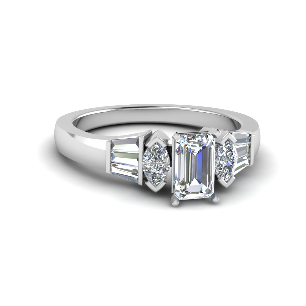 emerald cut baguette bar and marquise diamond engagement ring in FDENR1120EMR NL WG