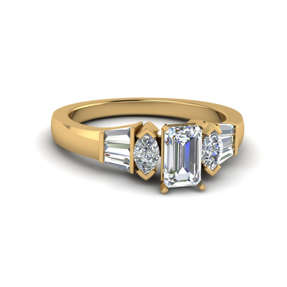 Emerald Cut Diamond Tapered Baguette Ring