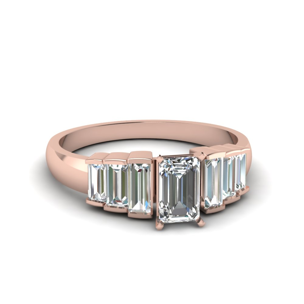 Emerald Cut Baguette Accent Ring