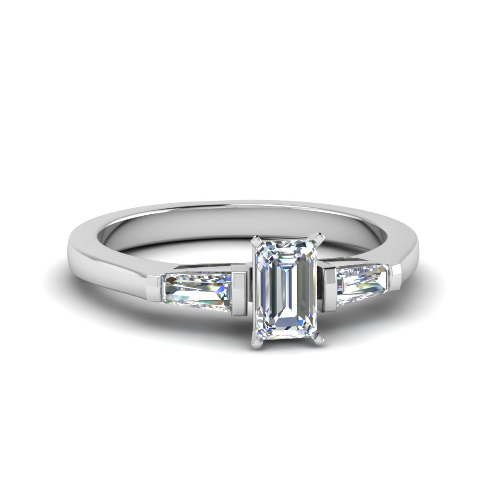 emerald cut 3 stone engagement ring with baguette in FDENS100EMR NL WG