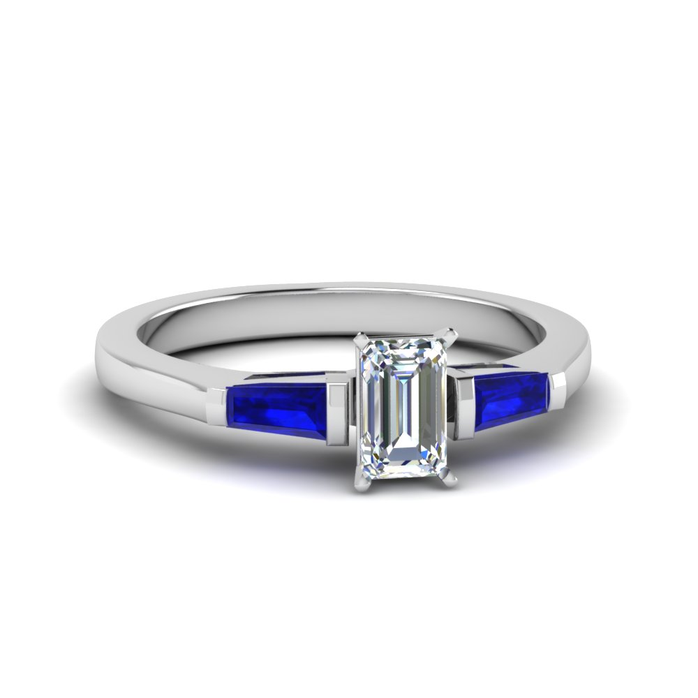 emerald cut 3 stone engagement ring with sapphire baguette in FDENS100EMRGSABL NL WG