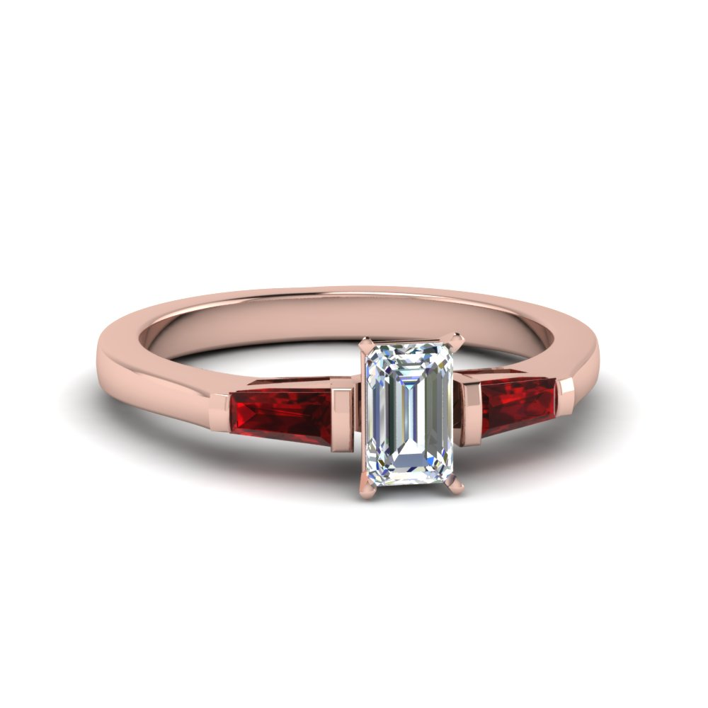 emerald cut 3 stone engagement ring with ruby baguette in FDENS100EMRGRUDR NL RG
