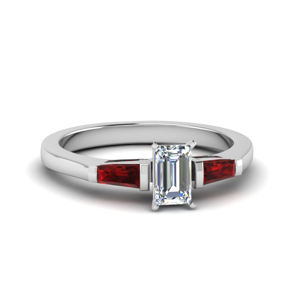 emerald cut 3 stone ring with ruby baguette in 14k white gold