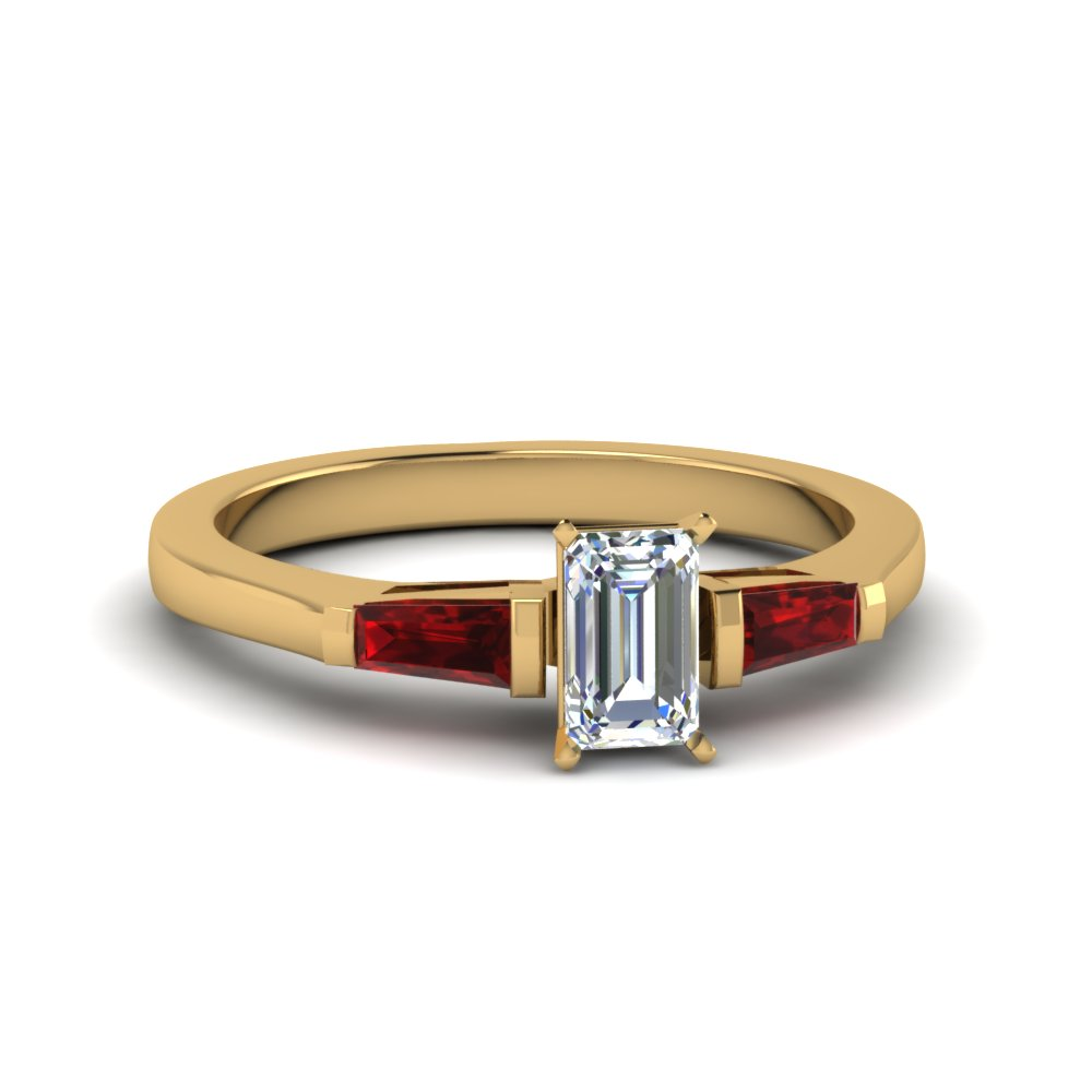 emerald cut 3 stone ring with ruby baguette in FDENS100EMRGRUDR NL YG