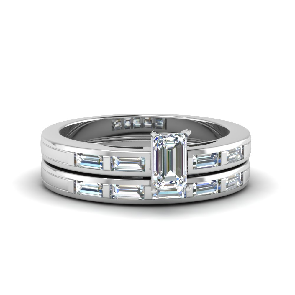 Emerald Cut Bar Baguette Diamond Simple Wedding Ring Set In FDENS218EM NL WG