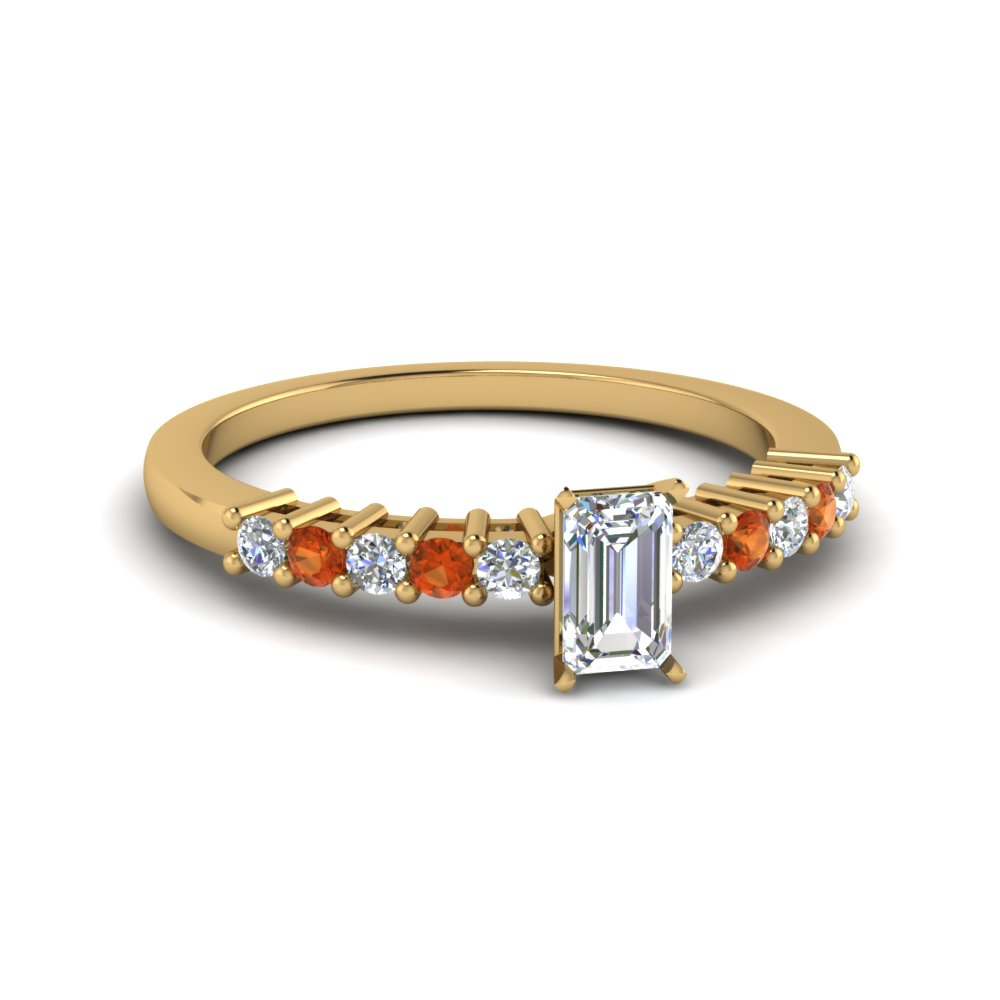 Orange Sapphire Emerald Cut Ring