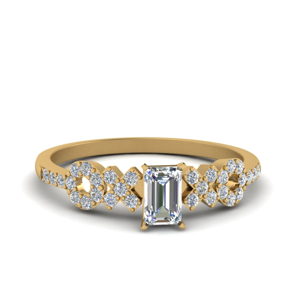 14K Yellow Gold Emerald Cut Side Stone Engagement Rings
