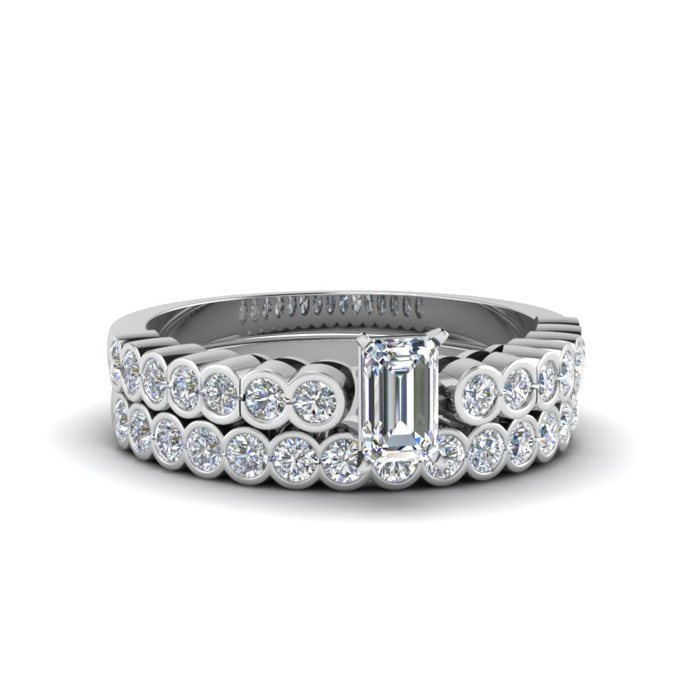 Bezel Diamond Ring With Wedding Band