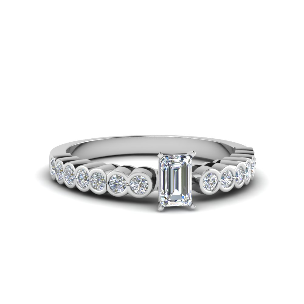 emerald cut bezel side stone moissanite engagement ring in 14K white gold FDENS3015EMR NL WG