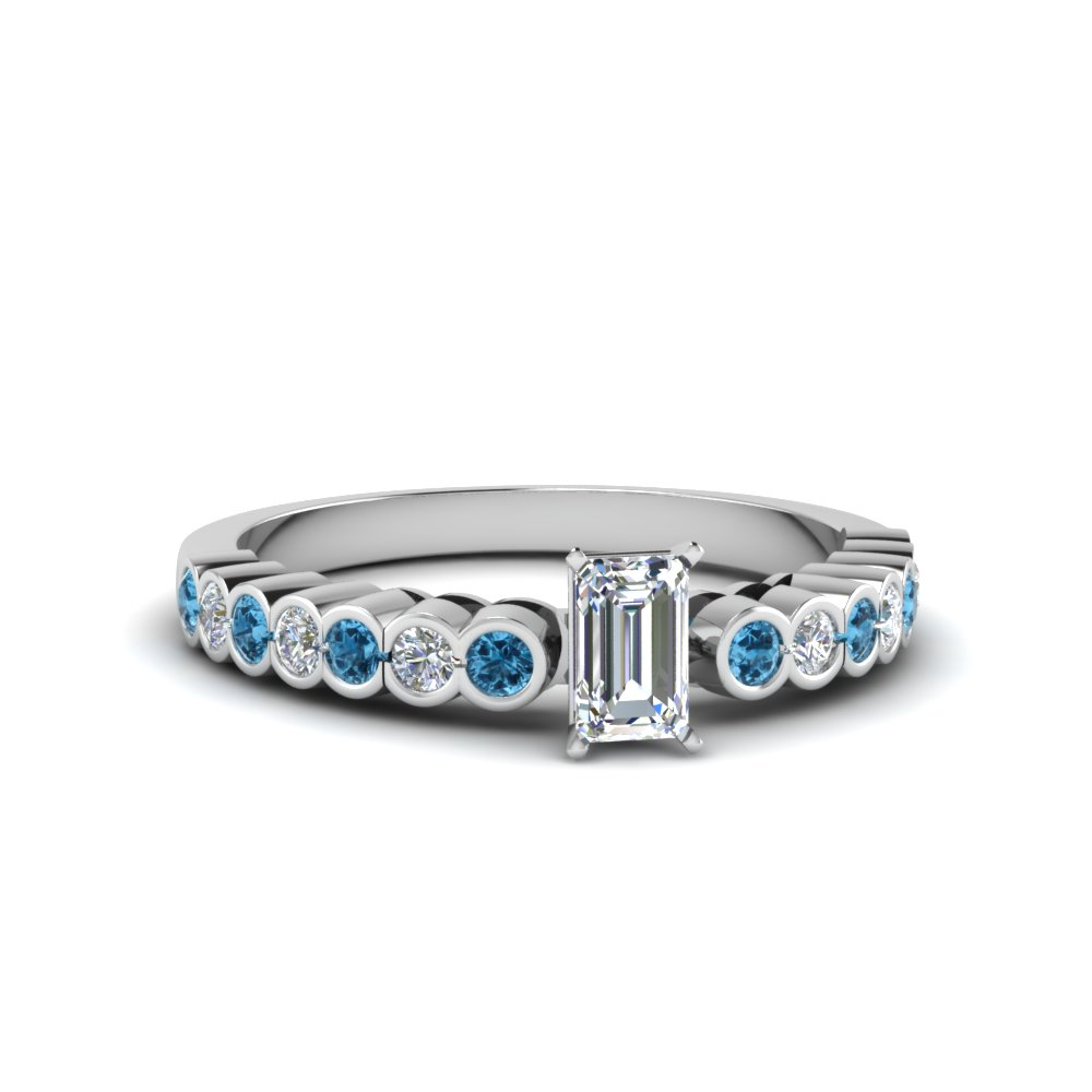 emerald cut bezel side stone diamond engagement ring with ice blue topaz in FDENS 3015EMRGICBLTO NL WG