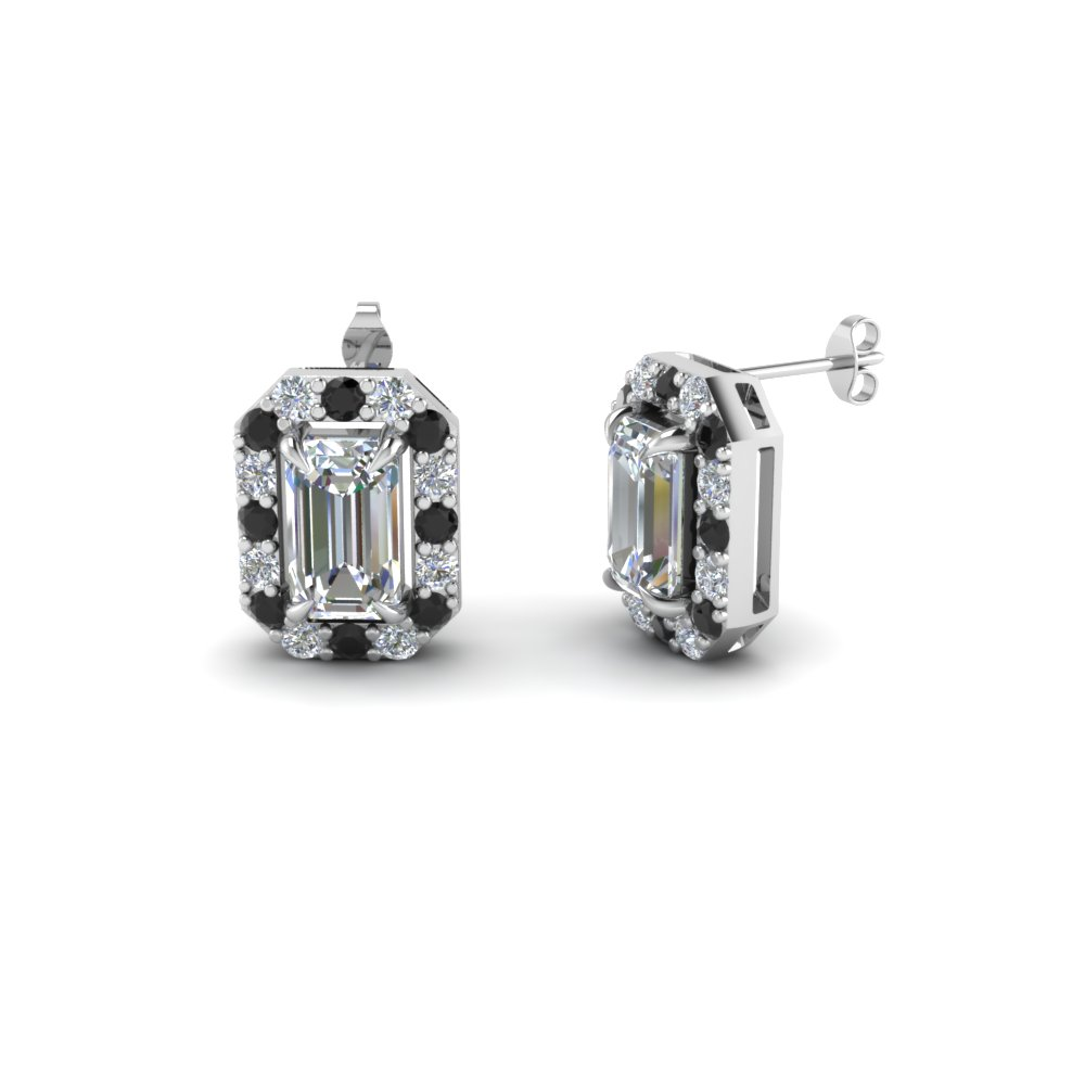 emerald cut stud earrings with black diamond in 14K white gold FDEAR1186EMGBLACK NL WG
