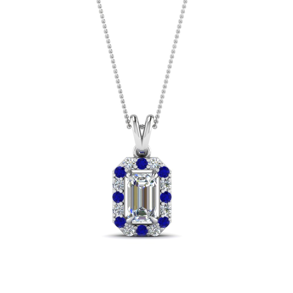 halo emerald cut diamond pendant with sapphire in FDPD1188EMGSABL NL WG