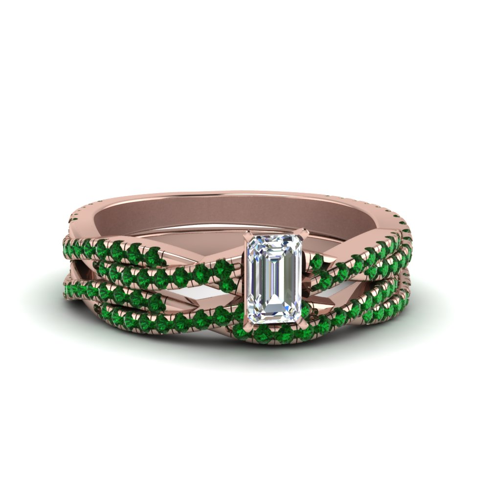 emerald cut braided emerald bridal set in FD8233EMGEMGR NL RG GS