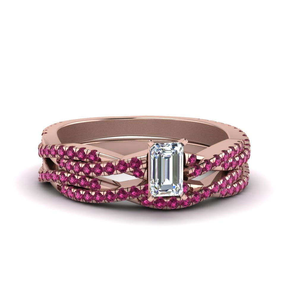 emerald cut braided pink sapphire bridal set in FD8233EMGSADRPI NL RG GS