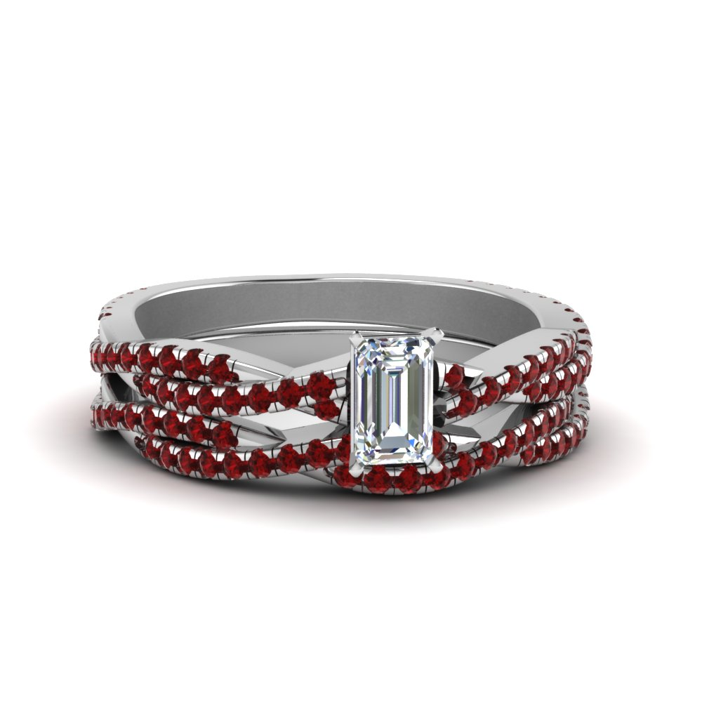 dbc4db5fed4b29 Emerald Cut Braided Ruby Bridal Set In 14K White Gold | Fascinating ...