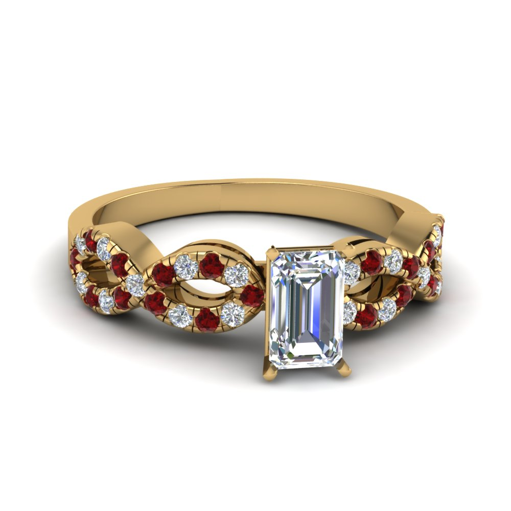 emerald cut braided diamond engagement ring with ruby in 14K yellow gold FD8062EMRGRUDR NL YG