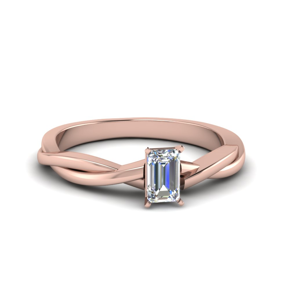 emerald cut braided single diamond engagement ring in 14K rose gold FD8252EMR NL RG