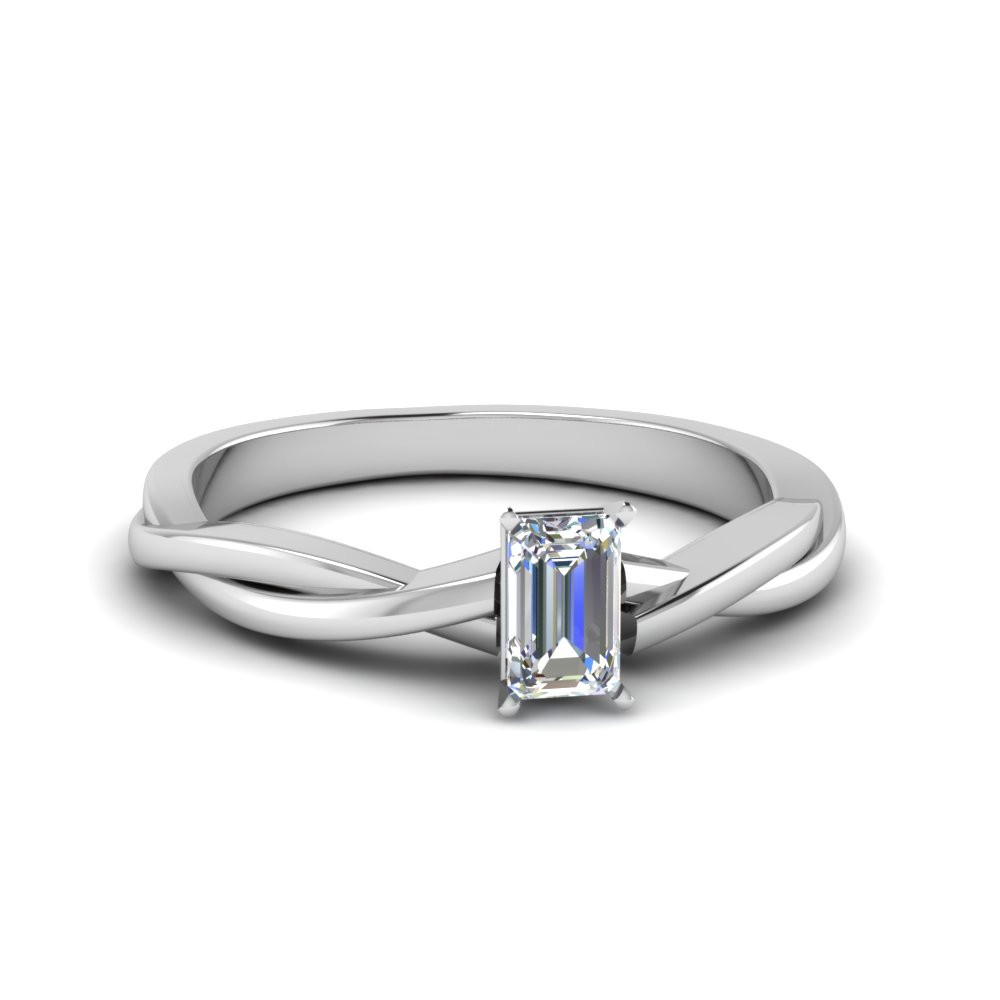 emerald cut braided single diamond engagement ring in 14K white gold FD8252EMR NL WG